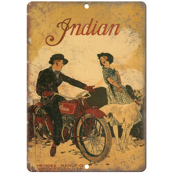 "Indian Motorcycle Vintage Poster Art 10"" X 7"" Reproduction Metal Sign F40"