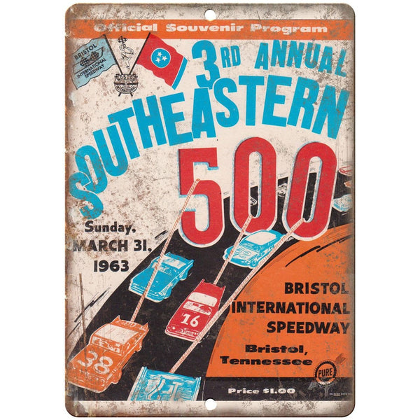 "1963 Southeastern 500 Bristol Speedway 10"" X 7"" Reproduction Metal Sign A525"