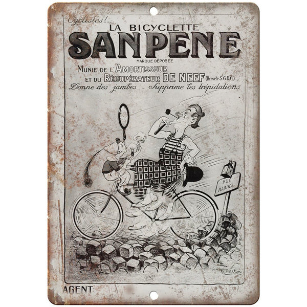 "La Bicyclette Sanpene Vintage Bicycle Ad 10"" x 7"" Reproduction Metal Sign B358"
