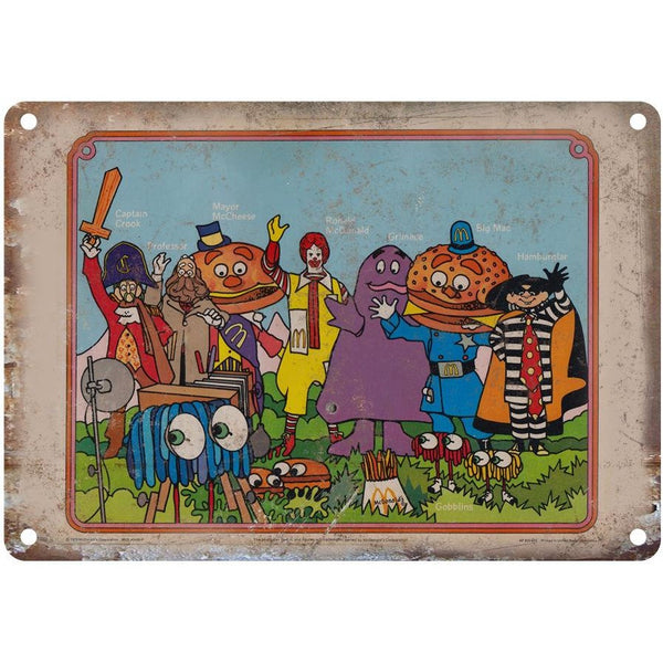 "McDonalds Retro Happy Meal Characters 10"" x 7"" Reproduction Metal Sign"