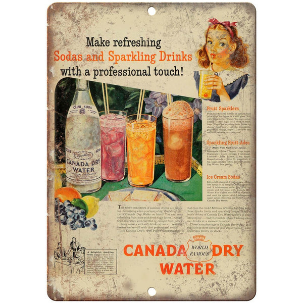 "Canada Dry Soda Water Vintage Ad 10"" X 7"" Reproduction Metal Sign N267"