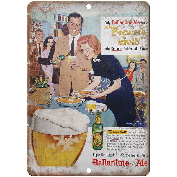 "Ballantine Light Ale Brewer's Gold Ad 10"" x 7"" Reproduction Metal Sign E288"