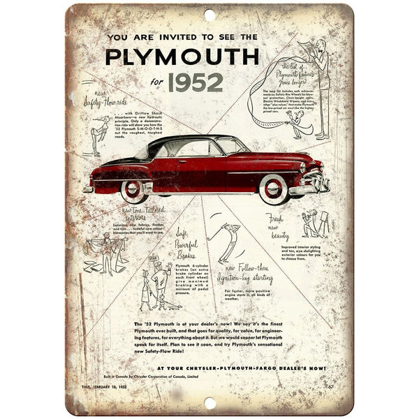 "1952 Plymouth, Chrysler Car Ad 10"" x 7"" Reproduction Metal Sign"