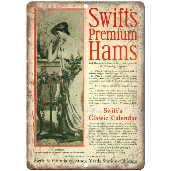 "Swift's Premium Hams Vintage Food Ad 10"" X 7"" Reproduction Metal Sign N341"