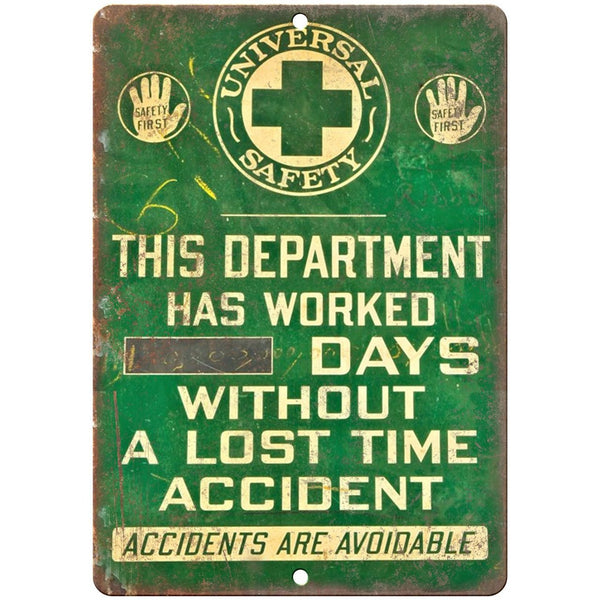 "Porcelain Look Accidents are Avoidable 10"" x 7"" Reproduction Metal Sign"