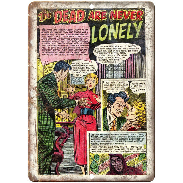 "The Dead Are Never Lonely Comic Strip 10"" x 7"" Reproduction Metal Sign J524"