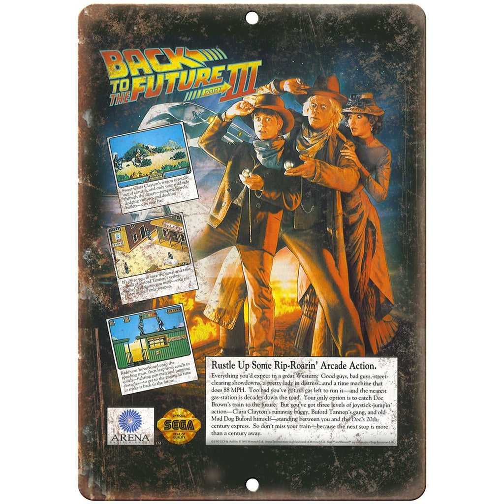 "Back to The Future Part III Sega Video Game 10"" x 7"" reproduction metal sign"