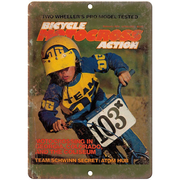 "10""x7"" Metal Sign Bcicyle Motocross Action BMX - Vintage Look Reproduction B35"