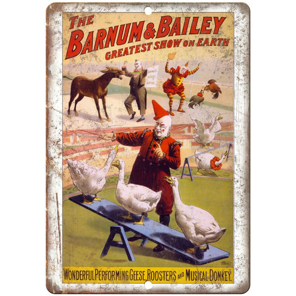 "Barnum & Bailey Circus Clown Poster 10"" X 7"" Reproduction Metal Sign ZH52"