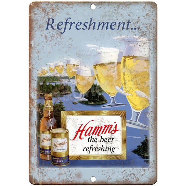 "10"" x 7"" Metal Sign - Hamm's Beer Refreshing - Vintage Look Reproduction"