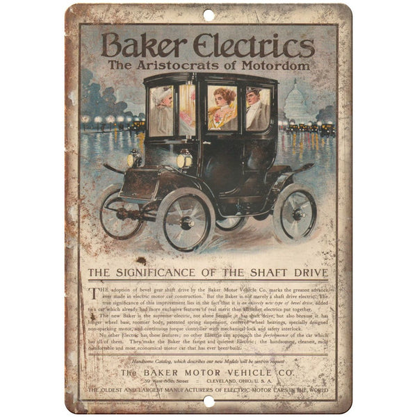 "1910 - Baker Electrics Motor Vhehicle Co Vintage Ad - 10"" x 7"" Retro Metal Sign"