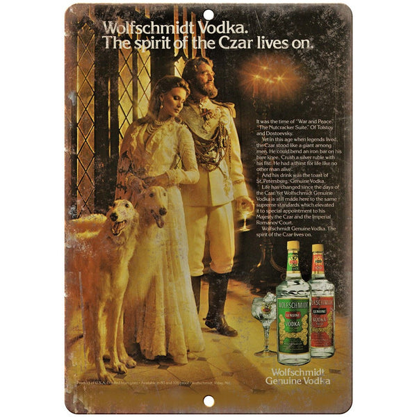 Wolfschmidt Vodka Vintge Liquor Ad Reproduction Metal Sign E109