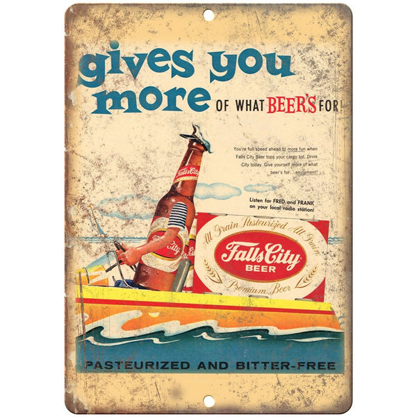 "Falls City Beer Vintage Print Ad Breweriana 10"" x 7"" Reproduction Metal Sign E10"