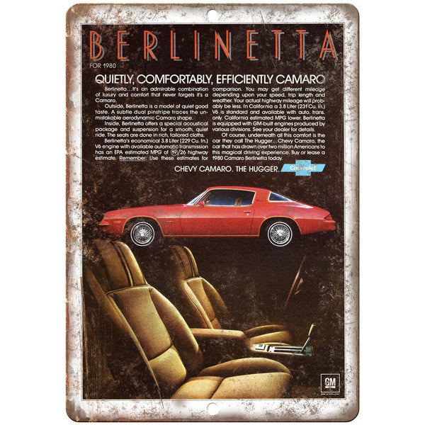 "1980 Chevy Berlinetta Camaro Vintage Print Ad 10"" x 7"" Reproduction Metal Sign"