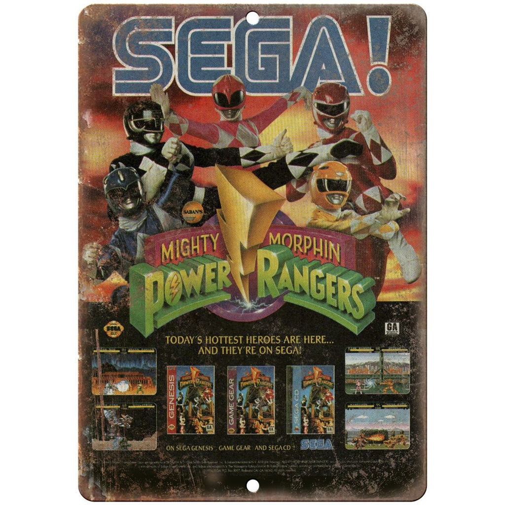 "Sega Mighty Morphin Power Rangers Video Game Ad 10"" x 7"" Retro Look Metal Sign"