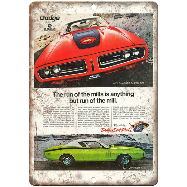 "1971 Dodge Charger Super Bee Sports Car 10"" x 7"" Reproduction Metal Sign"