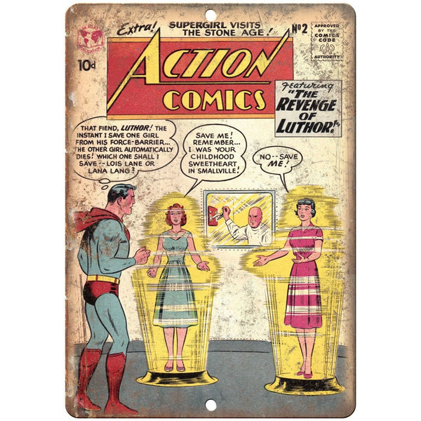 "Action Comics Revenge of Luthor 10"" X 7"" Reproduction Metal Sign J225"