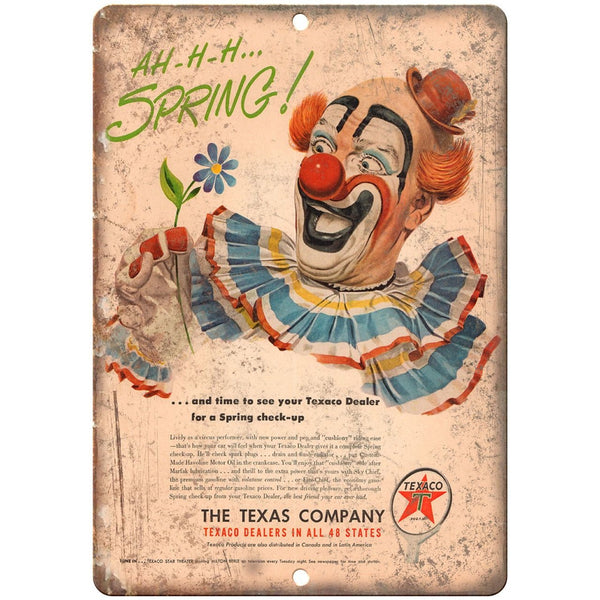 "RARE Vintage Texaco Oil Company Clown 10"" x 7"" Reproduction Metal Sign"