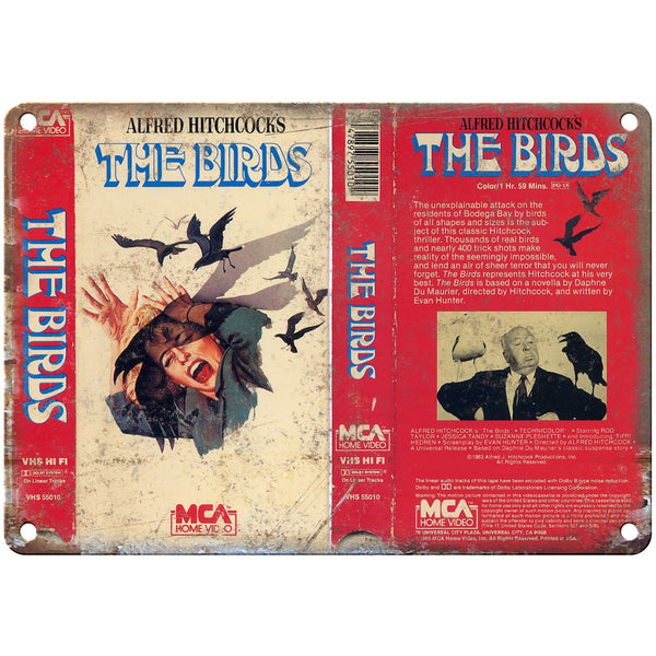 "1985 - The Birds Alfred Hitchcock VHS Cover 10"" x 7"" Reproduction Metal Sign"