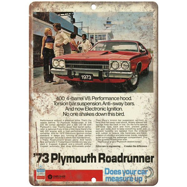 "1973 Plymouth Road Runner 10"" x 7"" Reproduction Metal Sign"