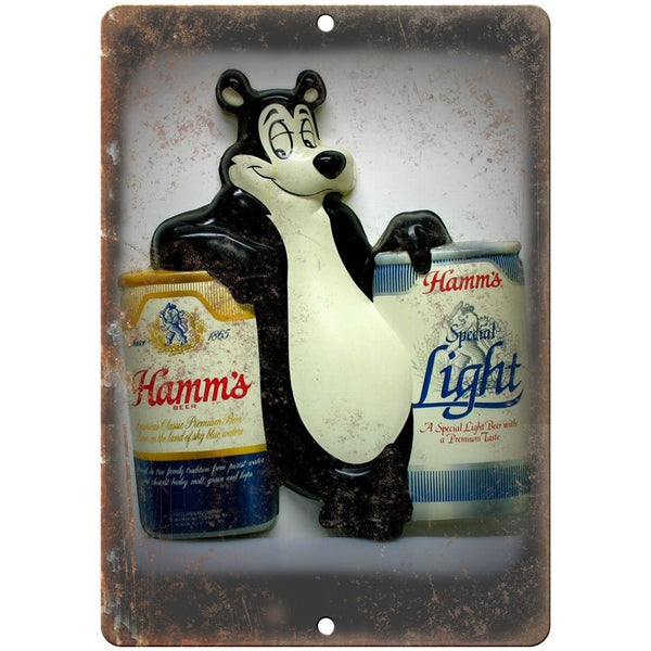 "10"" x 7"" Metal Sign - Hamm's Beer Porcelain Bear- Vintage Look Reproduction"
