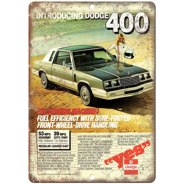 "1982 Dodge 400 Vintage Ad 10"" x 7"" Reproduction Metal Sign"