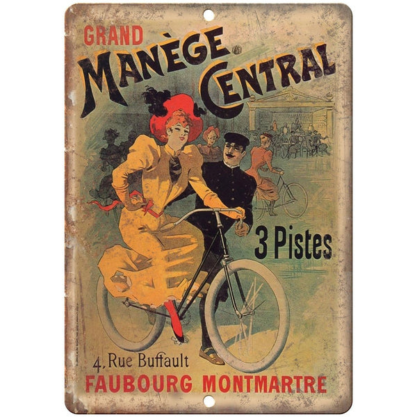 "Manege Central Vintage Bicycle Ad 10"" x 7"" Reproduction Metal Sign B244"
