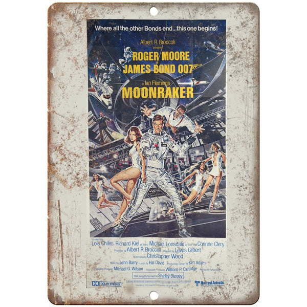 "James Bond, 007, Moonraker, Roger Moore, Ian Flemming, 10"" x 7"" retro metal sign"