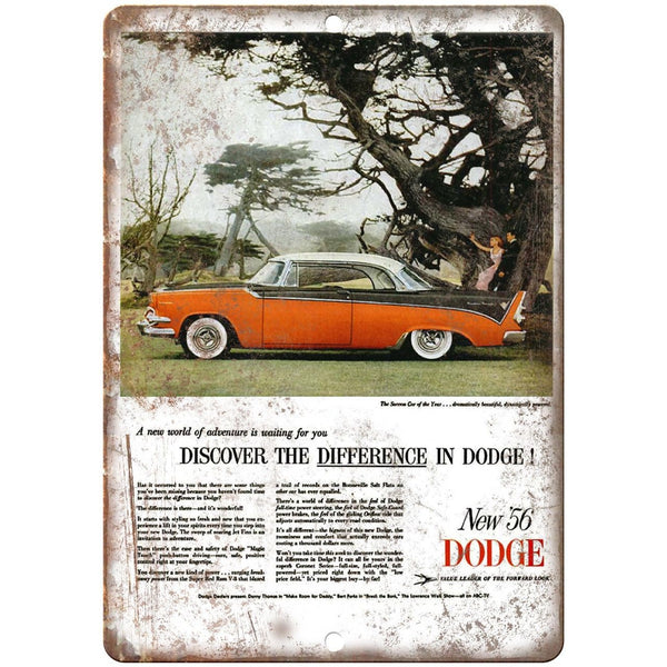 "1956 Dodge Vintage Auto Car Ad 10"" x 7"" Reproduction Metal Sign A224"
