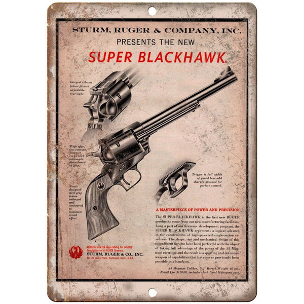 "Ruger Super Blackhawk Revolver 10"" x 7"" Reproduction Metal Sign"