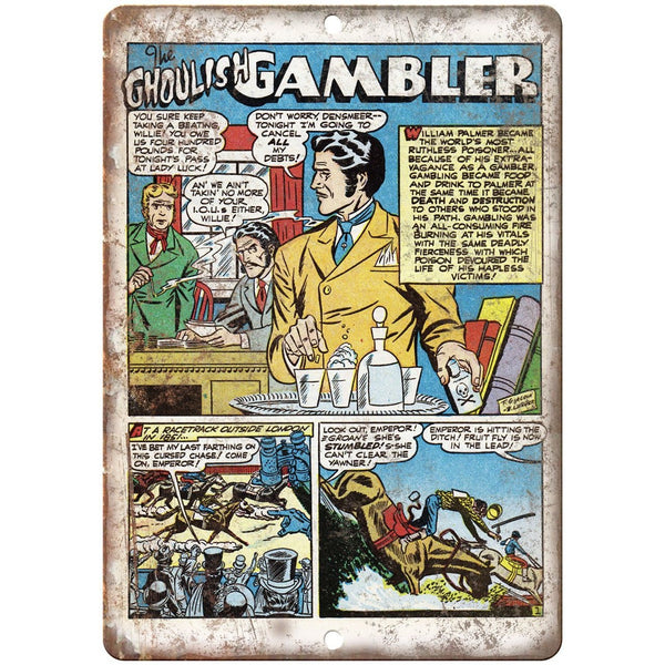 "Ghoulish Gambler Vintage Comic Book 10"" X 7"" Reproduction Metal Sign J306"