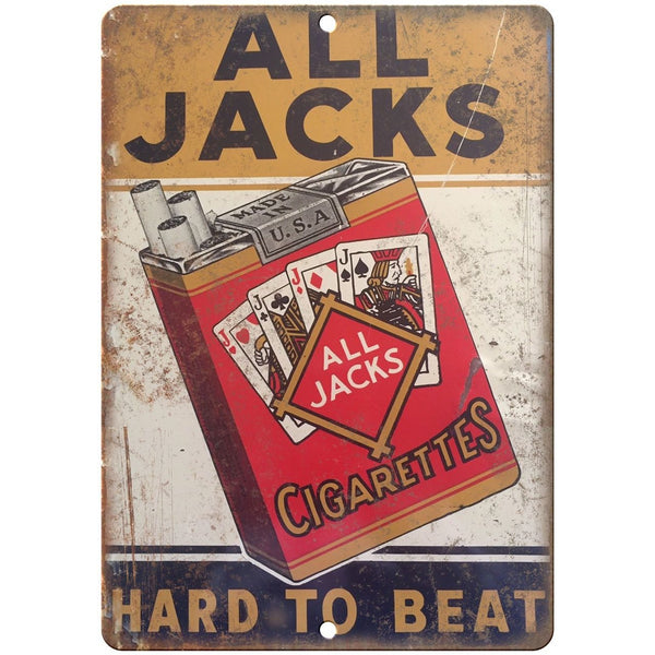 "Porcelain Look All Jacks Cigarettes 10"" x 7"" Reproduction Metal Sign"