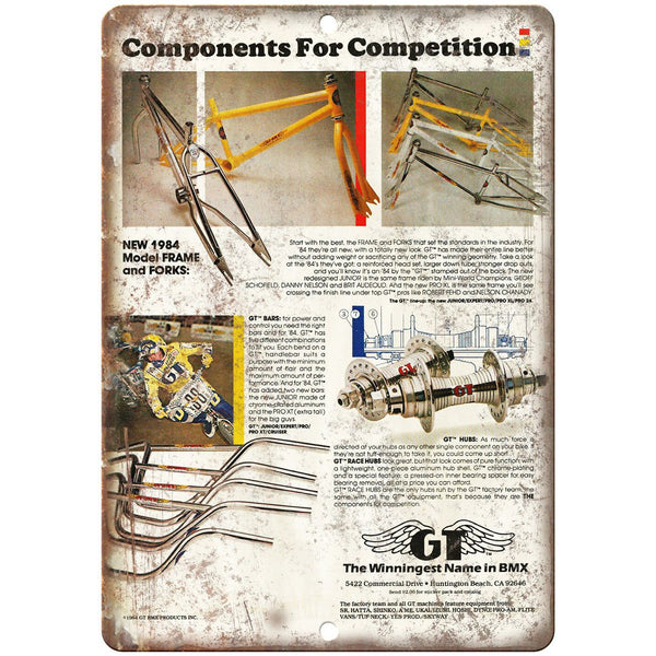 "1984 GT BMX Bars Frames Forks Hubs Ad 10"" x 7"" Reproduction Metal Sign B475"