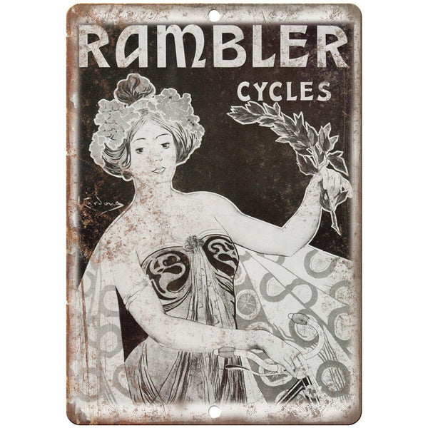 "Rambler Cycles Vintage Bicycle Ad 10"" x 7"" Reproduction Metal Sign B353"