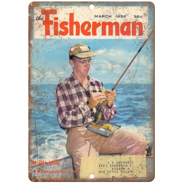 "1956 The Fisherman Magazine Cover 10"" x 7"" reproduction metal sign"