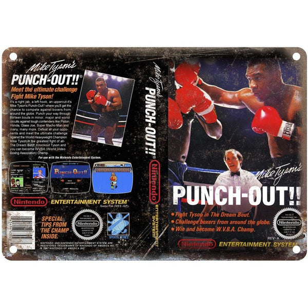 "Mike Tyson's Punch-Out RARE game cover 10"" x 7"" reproduction metal sign"