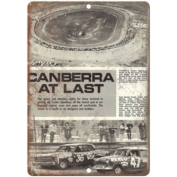 "Tralee Speedway Canberra Car Races 10"" X 7"" Reproduction Metal Sign A516"