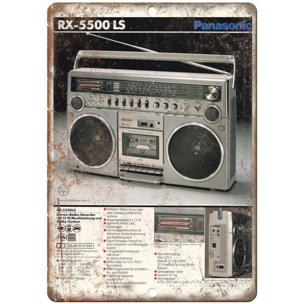 "Panasonic RX-5500 LS Boombox Ghetto Blaster 10"" x 7"" reproduction metal sign"