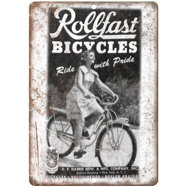 "Rollfast Bicycles Vintage Ad 10"" x 7"" Reproduction Metal Sign B235"
