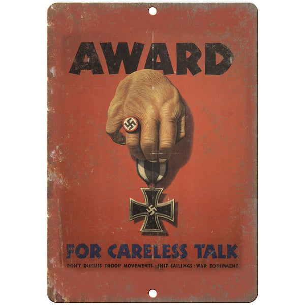 "Nazi Hitler Careless Talk WW2 Propoganda 10""x7"" Reproduction Metal Sign M49"