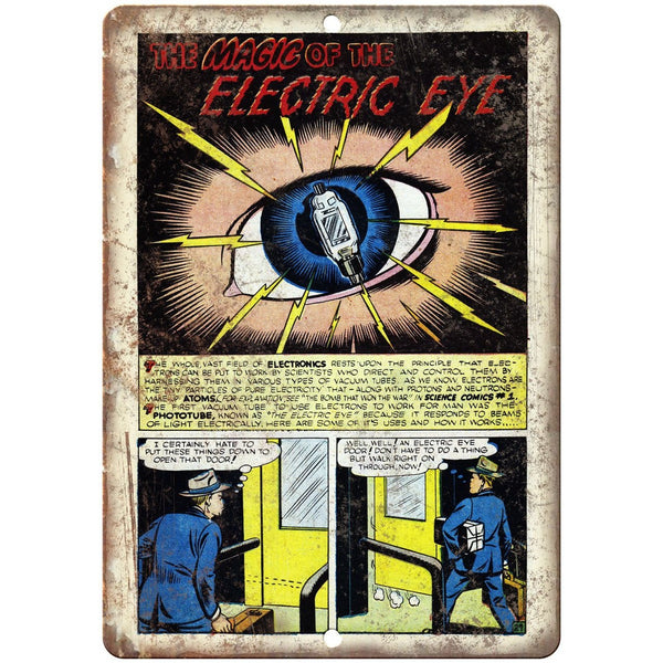 "Magic of the Electric Eye Comic Strip 10"" X 7"" Reproduction Metal Sign J468"