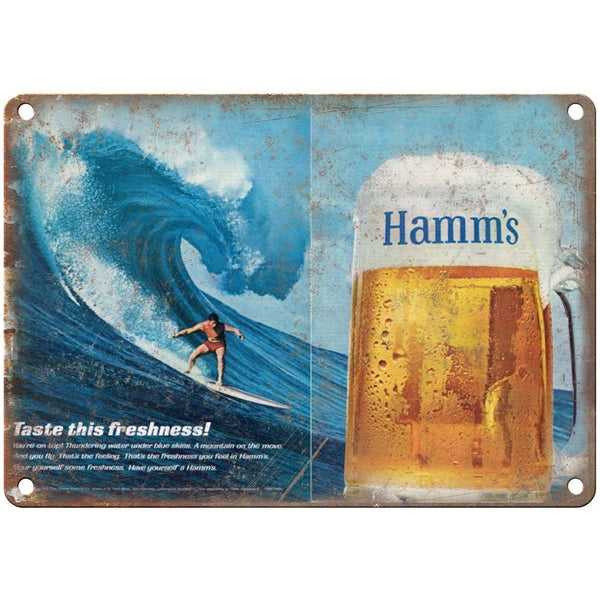 "10"" x 7"" Metal Sign - Hamm's Beer Surf Ad - Vintage Look Reproduction"