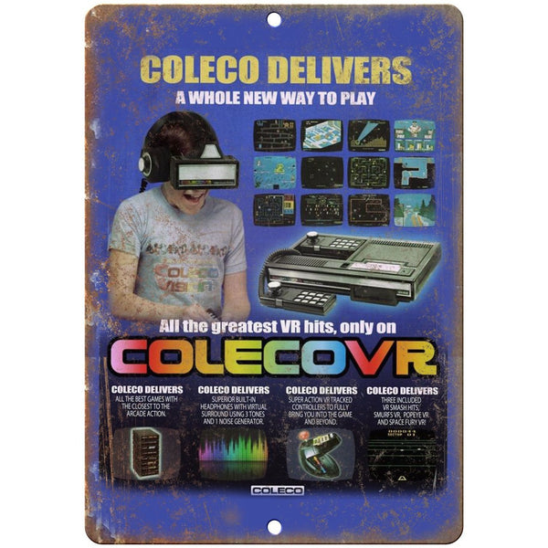 "Coleco Video game system Colecovr 3D Gaming 10"" x 7"" Retro Look Metal Sign"