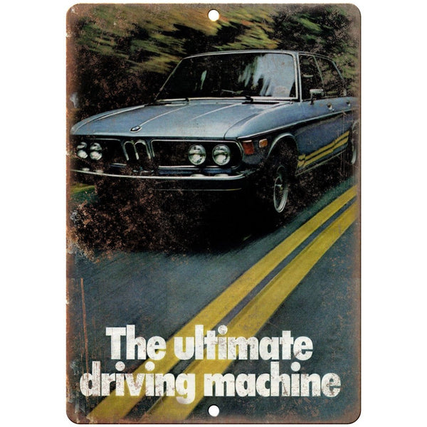 "BMW The Ulitimate Driving Machine Vintage Ad 10""x7"" Reproduction Metal Sign A117"