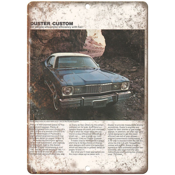 "1975 Plymouth Duster Custom Car Sales Flyer Ad 10"" x 7"" Reproduction Metal Sign"