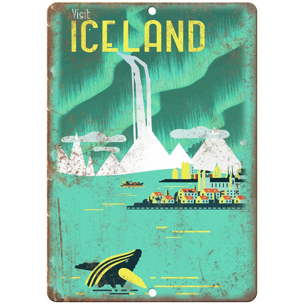 "Iceland Vintage Travel Poster Art 10"" x 7"" Reproduction Metal Sign T44"