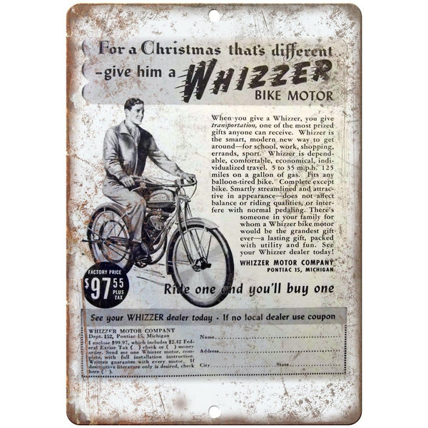"Whizzer Bike Motor Bicycle Vintage Ad 10"" x 7"" Reproduction Metal Sign B213"