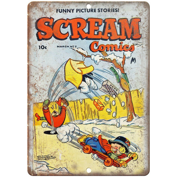 "Scream Comic No 7 Cover Book Art 10"" x 7"" Reproduction Metal Sign J538"
