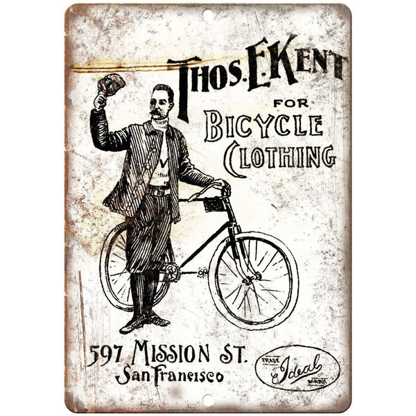 "Thos Ekent Bicycle Clothing San Francisco 10"" x 7"" Reproduction Metal Sign B282"
