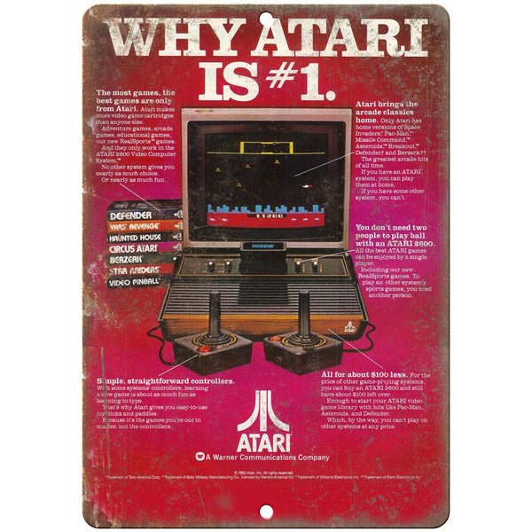 "Atari Why Atari is #1 Gaming Console Ad 10"" x 7"" Retro Look Metal Sign"
